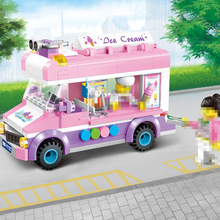 City Street Pack Ice Cream Van Truck Car Buliding Blocks DIY Educational Sets Bricks Toy Birthday Gifts Toys For Children Girls 5mm 216pcs buliding educational cube blocks anxiety stress toys gift new year magnet with metal box disc magnet