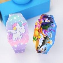 Relojes luminosos de unicornio para niños y niñas, mundo oceánico Infantil de Reloj electrónico, LED, novedad