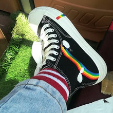 Rainbow canvas shoes women's shoes childrenfashion shoes new spring Korean small white shoes autumn ulzzang shoes(China)