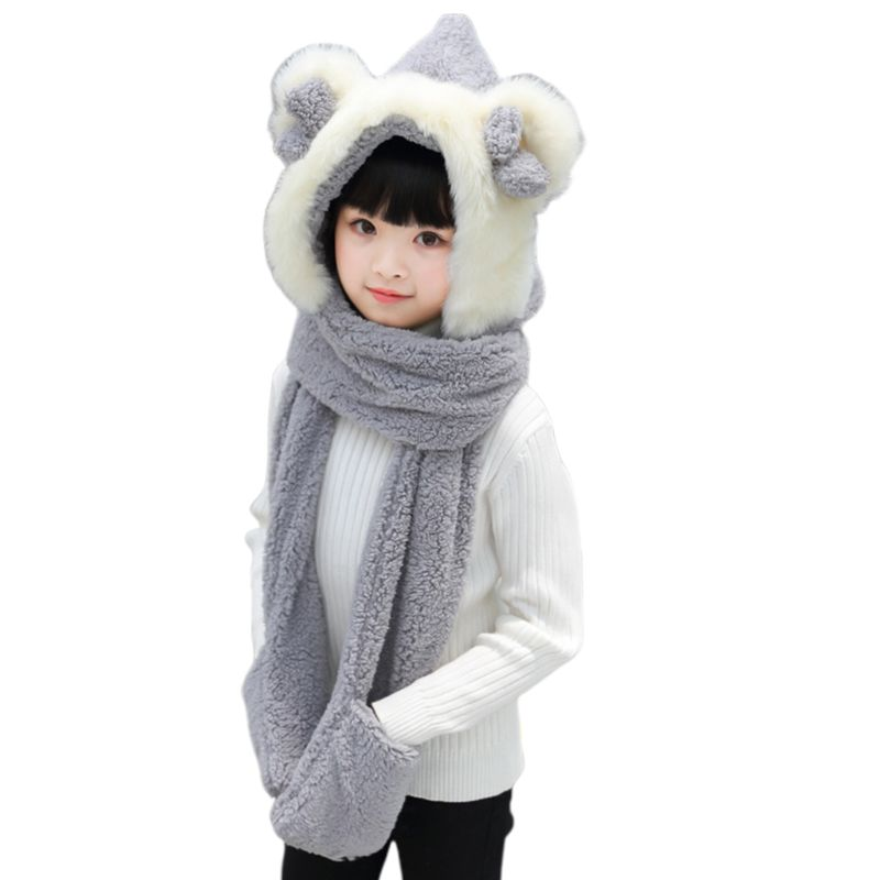 Kids 3 In 1 Warm Plush Winter Hat Cute Bowknot Bear Ears Scarf Gloves Hoodie Cap 40JF