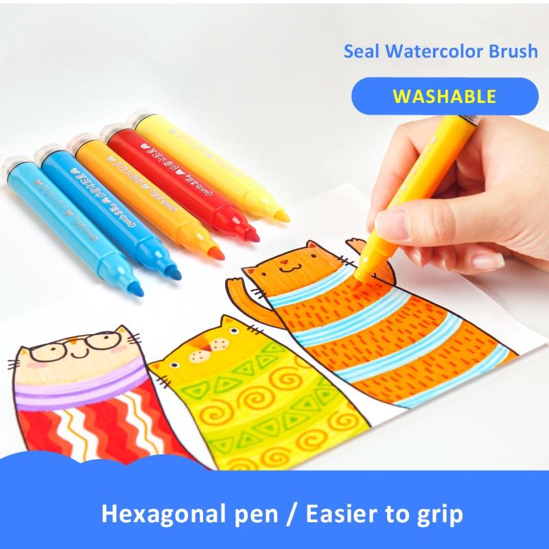 Juego de bolígrafos de dibujo para niños, juego de bolígrafos lavables a Color agua, rotulador de grafiti artístico, juego de 12/18/24/36/48/60 colores|Crayones| - AliExpress