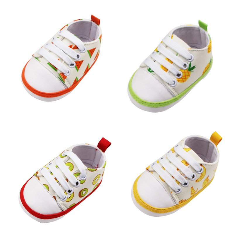 Fruit Pattern Toddler Baby Boy Canvas Anti Slip Newborn Baby Boy Casual Crib Shoes For Baby Boy 0-18 Months