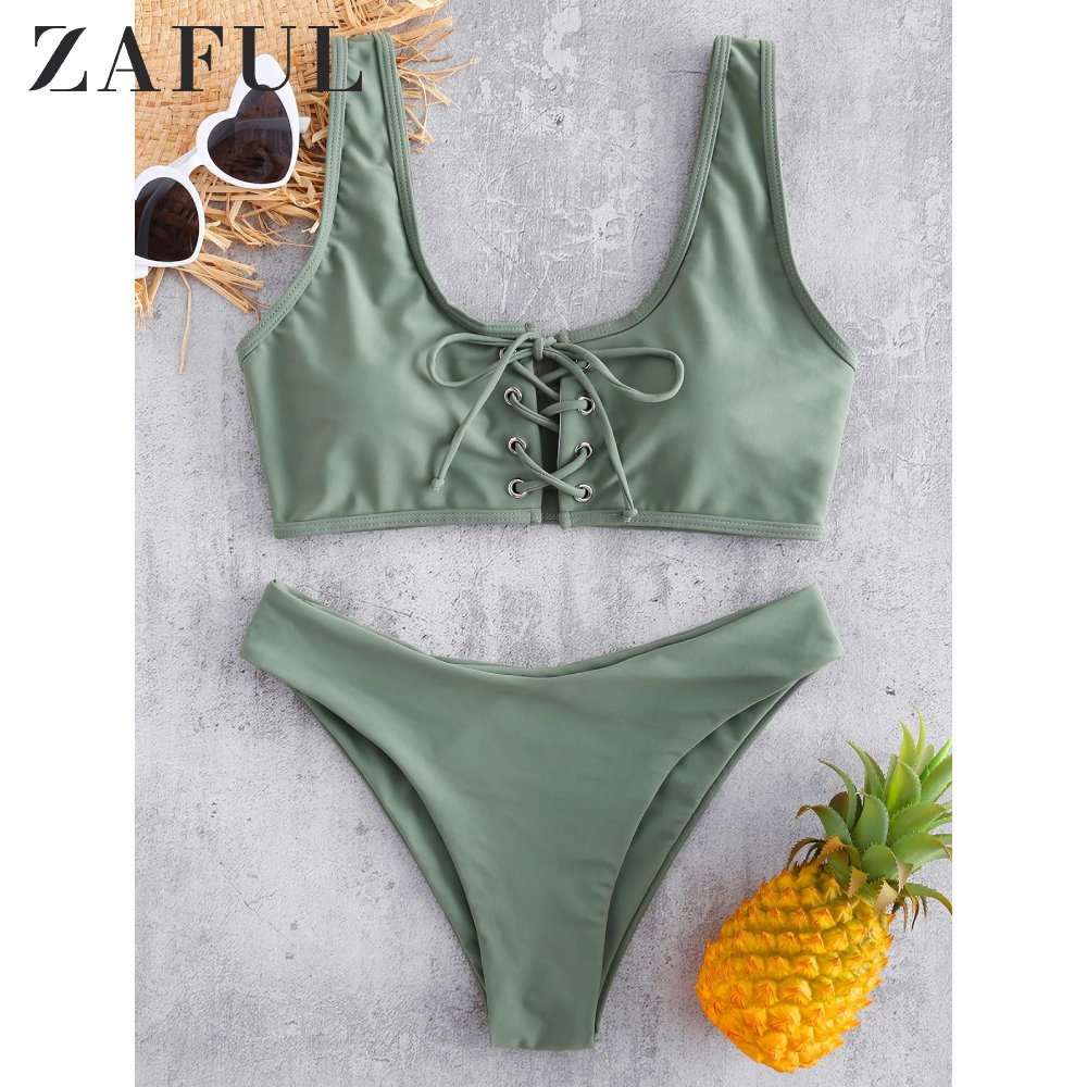 ZAFUL Scoop Lace Up Bikini Set 2020 Swimwear Scoop Neck Padded Swimsuit Women Solid Basic Bathing Suit Sexy Push Up Bathing Suit