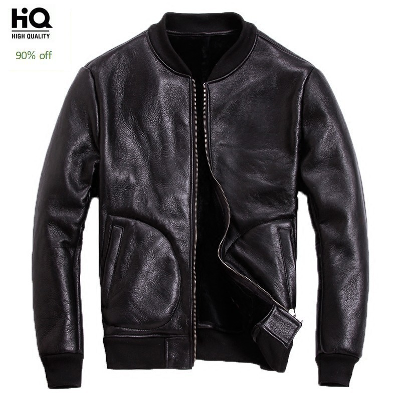 Classic Sheepskin Leather Jacket Brand New Sheep Shearling Coat Mens Winter Warm Jackets Thick Wool Clothes Motor Bomber Jacket