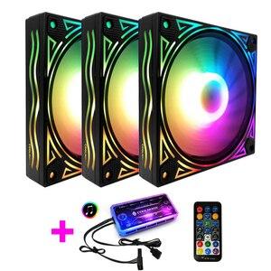 COOLMOON F-JL чехол для компьютера PC охлаждающий вентилятор RGB Настройка 120 мм тихий + ИК-пульт Новый кулер для компьютера RGB чехол для процессора в...
