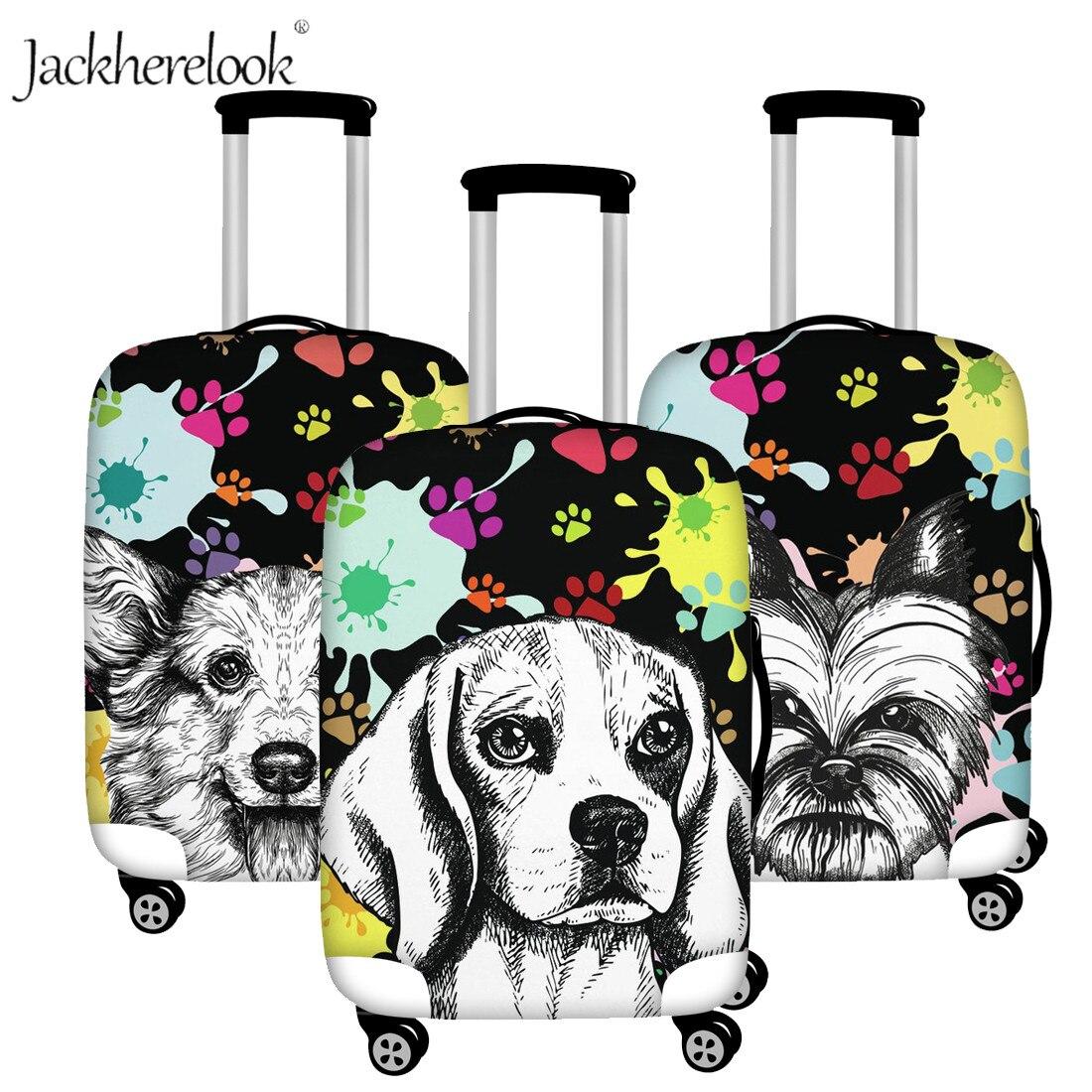 Jackherelook Artsy Beagle/Yorkie/Boston Dog Print Luggage Protect Cover Elastic Trave Suitcase Bag Case Dirtyproof Trolley Sheet