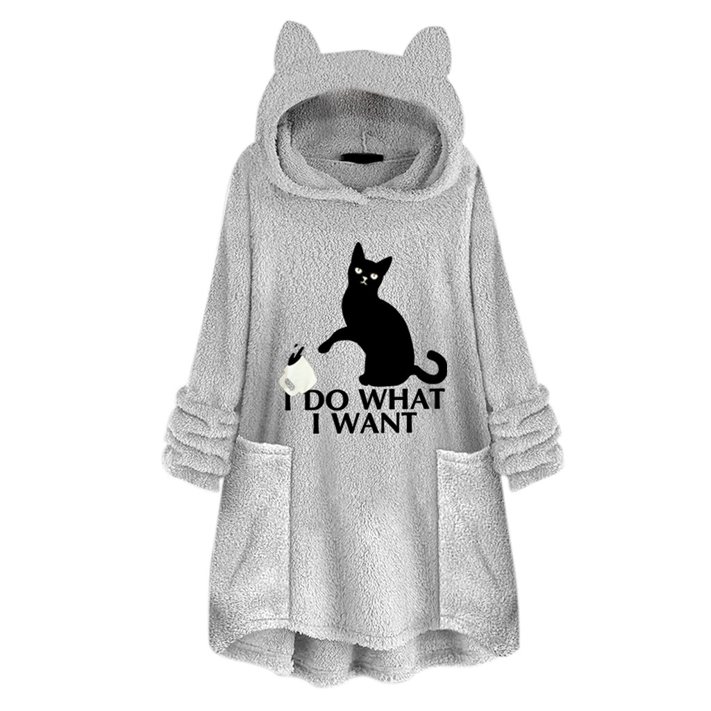 Cat Printed Hoodies Women Plus Size Fleece Oversize Hoodie With Cat Ears Warm Oodies Embroidery Sweatshirt Women Sudadera Mujer
