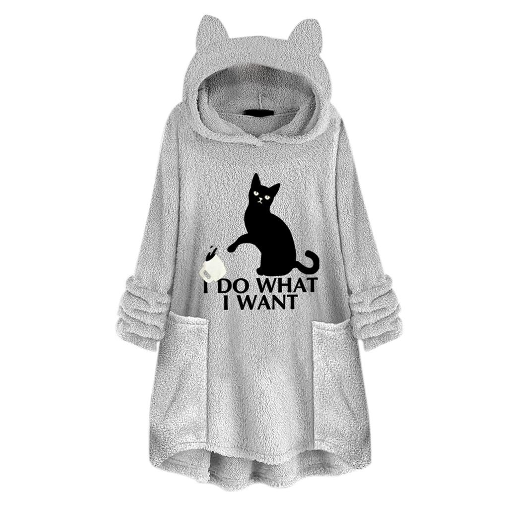 Cat Printed Hoodies Women Plus Size Fleece Oversize Hoodie With Cat Ears Warm Oodies Embroidery Sweatshirt Women Sudadera Mujer