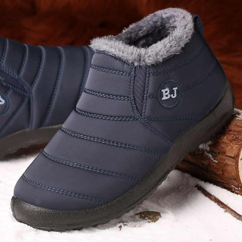 New Fashion Men Boots 2019 Men Winter Shoes Fur Winter Snow Boots Plush Antiskid Bottom Keep Warm Waterproof Boots Plus Size