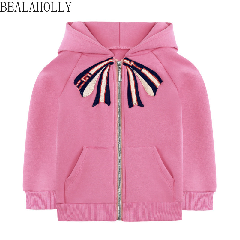 2019 New Autumn and Winte Girl Coat with Butterfly Knot Embroidered Pure Cotton Cardigan Cap and Velvet Guard Coat with Zipper