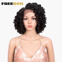 FREEDOM-pelucas de encaje sintético rizado para mujeres negras, Bob corto de 14 pulgadas, pelucas con minimechones de alta temperatura