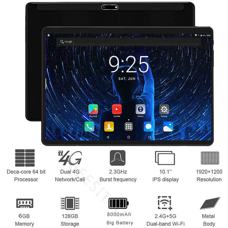 2019 New 10 inch 4G LTE Tablet PC Deca Core 6GB RAM 128GB ROM 1920x1200 IPS 2.5D Tempered Glass 10.1 Android 8.1 Tablets+Gifts