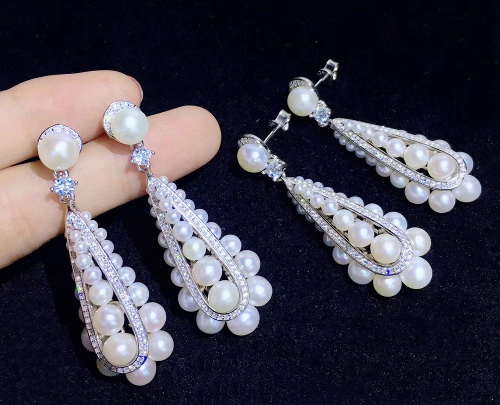 100% reale naturale di acqua dolce perla orecchino di goccia dal piccolo al grande 2 6 MILLIMETRI argento sterling 925 con cubic zircon dei monili di modo - 5