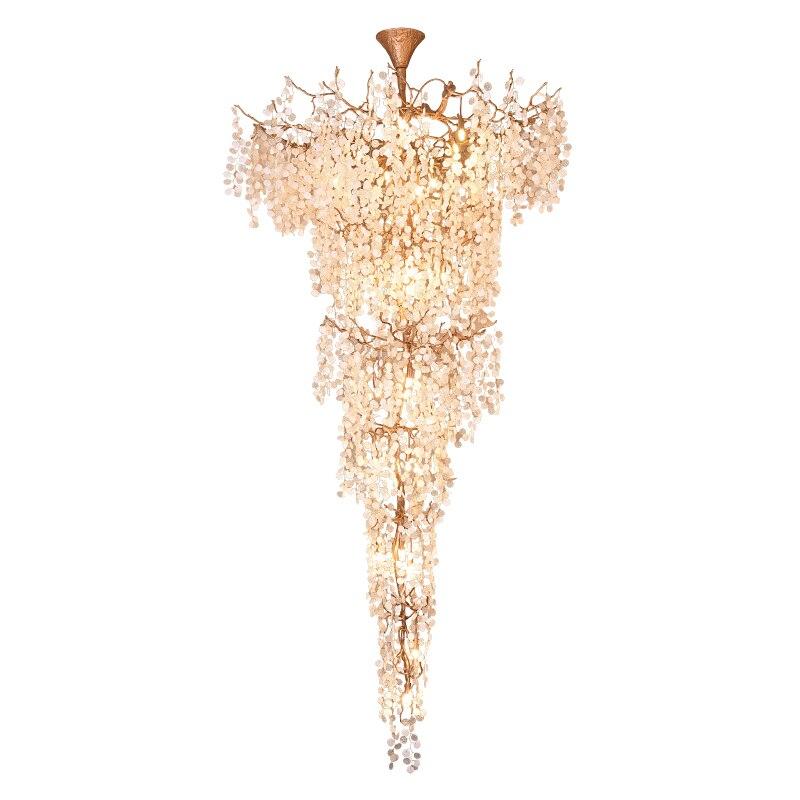Phube éclairage artistique cuivre Branches escalier lustres lumière verre arbre feuilles Foyer Lustre Lustre Bar Salon éclairage
