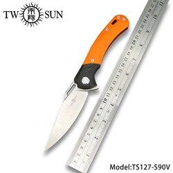 TWOSUN S90V klinge folding messer Tasche Messer taktische messer jagd Outdoor camping werkzeug EDC kugellager Schnelle Öffnen G10 TS127