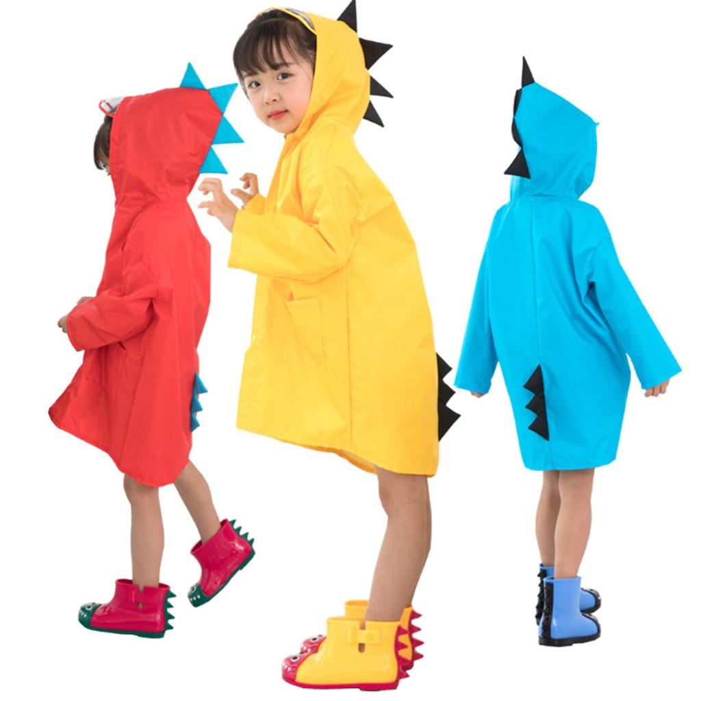 Kids Raincoat Cute Dinosaur Children Rain Snow Jacket Waterproof Rain Poncho Rain CapeAll-in-One Suit Ponxo Wear Outdoor Hoodie Rainwear Storm Break Rain Slicker for Age 2-6 Years Unisex Boys Girls