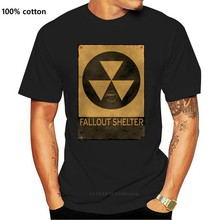 T-shirt 4 Men Fallout Shelter Tshirt Male Radioactive Symble Print Tops & Tees Punk 2019 Black T Shirt Old Busted Cotton Camisa