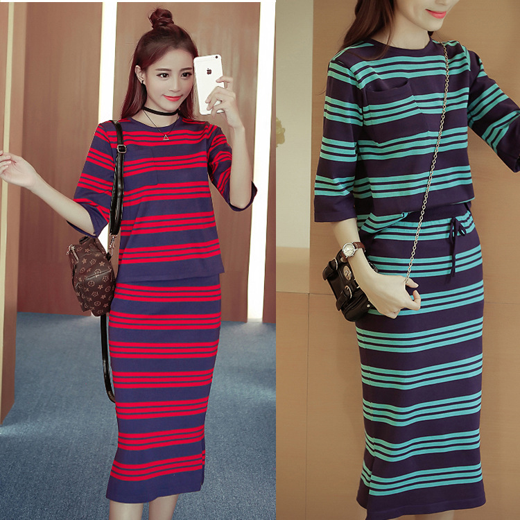 Slimming Stripes Viscose Jersey Dress Two-Piece Set Mid-length Sheath Dress Outfit