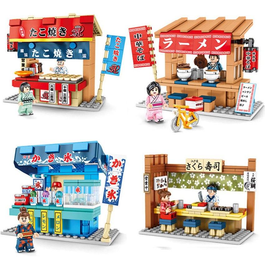 3D ville Live Sence magasin de détail Playmobil japon nourriture pieuvre Sushi magasin rue blocs de construction bricolage jouets pour enfants Lepining