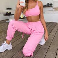 Outono 2019 agasalho feminino sexy bodycon rosa conjunto de duas peças topo de colheita e calças conjunto femme dresy damskie joging femme conjunto conjunto