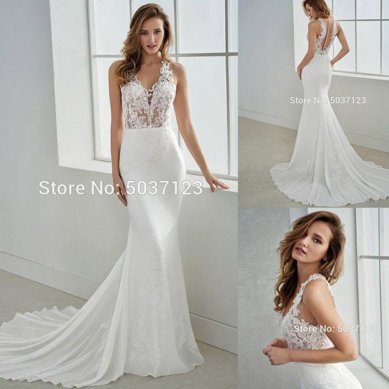Mermaid Wedding Dresses 2019 Sleeveless V Neck Lace Appliques Bridal Gown Court Train Button Illusion Vestidos De Noiva