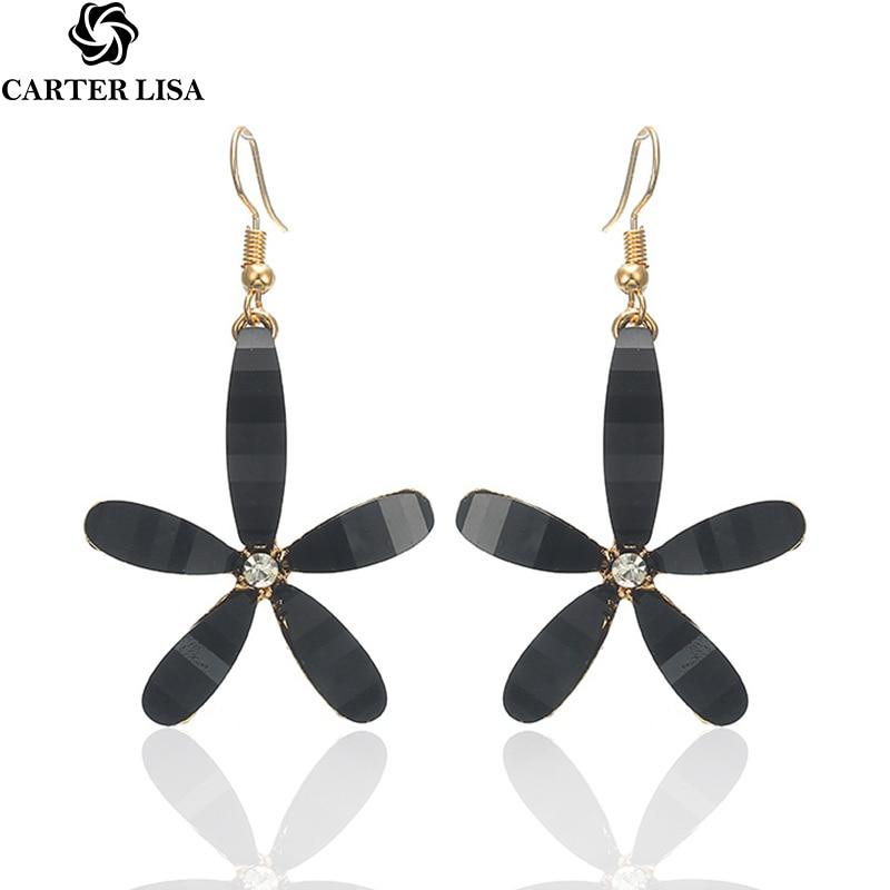 CARTER LISA 2019 New Est Lady Flower Drop Earrings Women Acrylic Dangle Long Earrings For Women Jewelry HLEZ93000