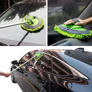 Image 5 - アップグレード3セクション伸縮式ロングハンドル洗車ブラシモップシェニールほうき窓高吸水クリーニングツールアクセサリー