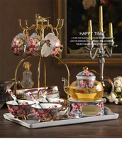 Classic Retro Ceramic Tea Cup Saucers Coffee Set With Tray European Bone China 4/6pcs Afternoon Glass Candle Heaten Teapot