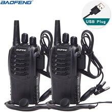 2Pcs Baofeng BF 888S Walkie Talkie UHF Two Way Radio BF888S Handheld  Radio 888S Comunicador Transmitter Transceiver+ 2 Headsets
