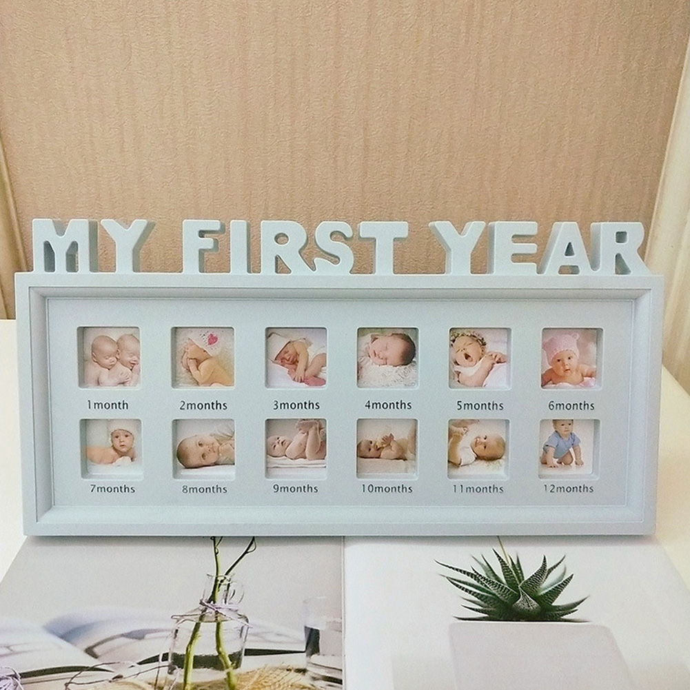 12 Months Photo Frame Girls Boys PVC My First Year Newborn Baby Desktop Multifunctional Infant Show Picture Display Ornaments