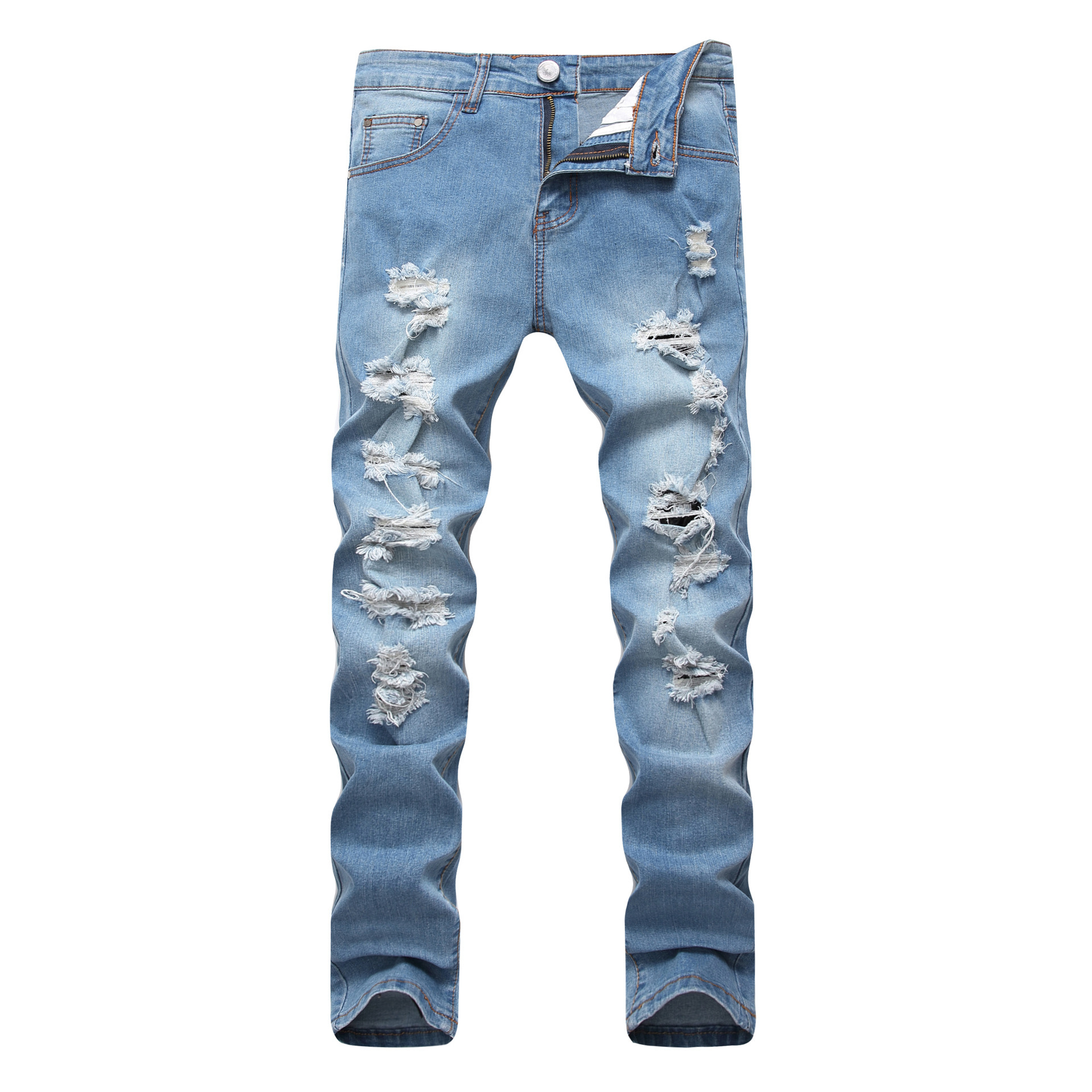 2019 New Style Europe And America MEN'S Jeans Light Blue Men With Holes Elasticity Jeans Slim Fit Pencil Pants Trousers