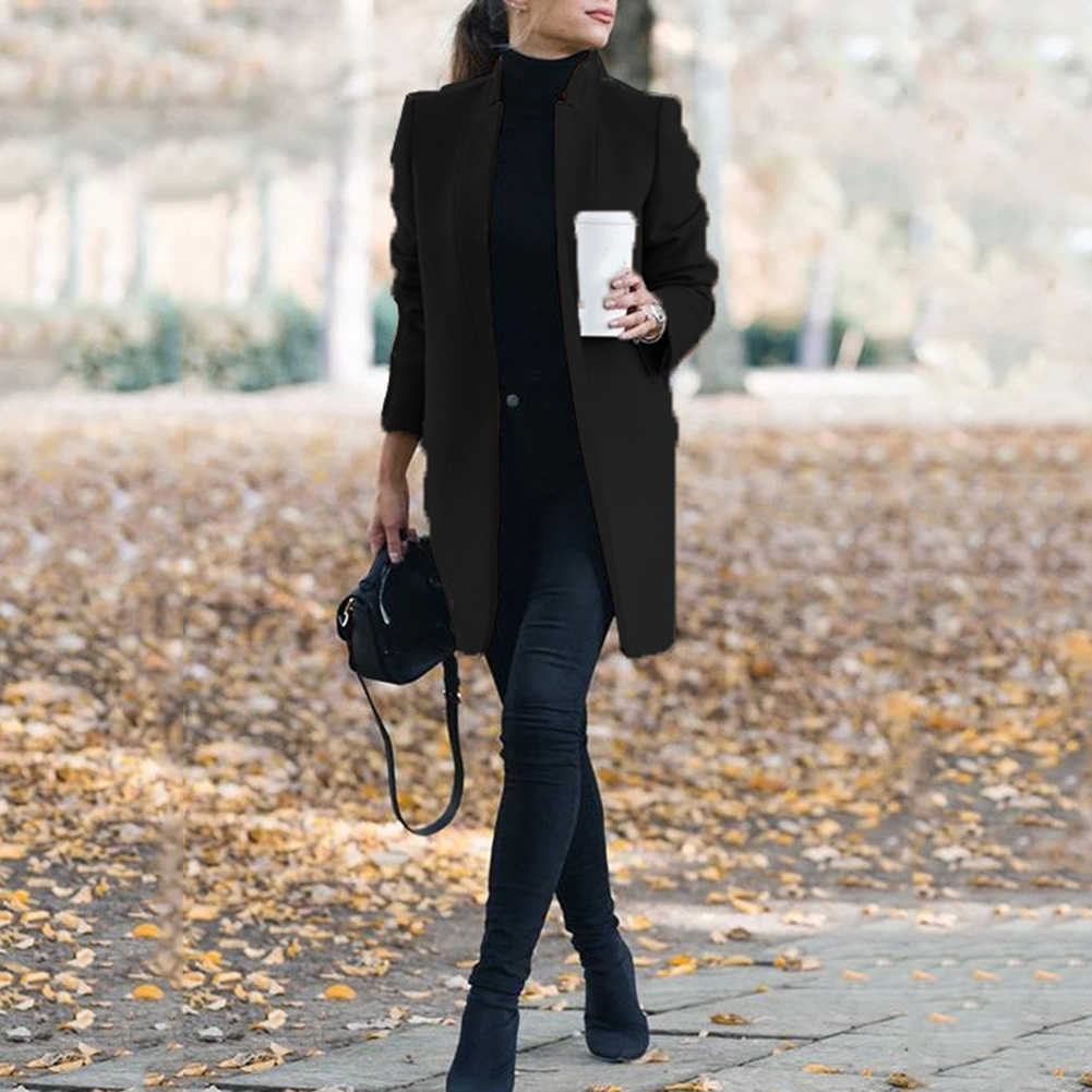 Thời Trang Plus Size Nữ Áo Len Nữ Công Sở Mùa Thu Đồng Màu Cổ Áo Đứng Len Nữ 2020 Mới Clothings