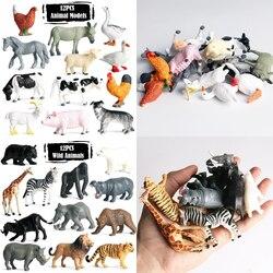 Фигурки животных 12 шт., модели игрушек для детей, динозавр, тигр, Кит, Акула, познавательные обучающие игрушки, коллекционные подарки