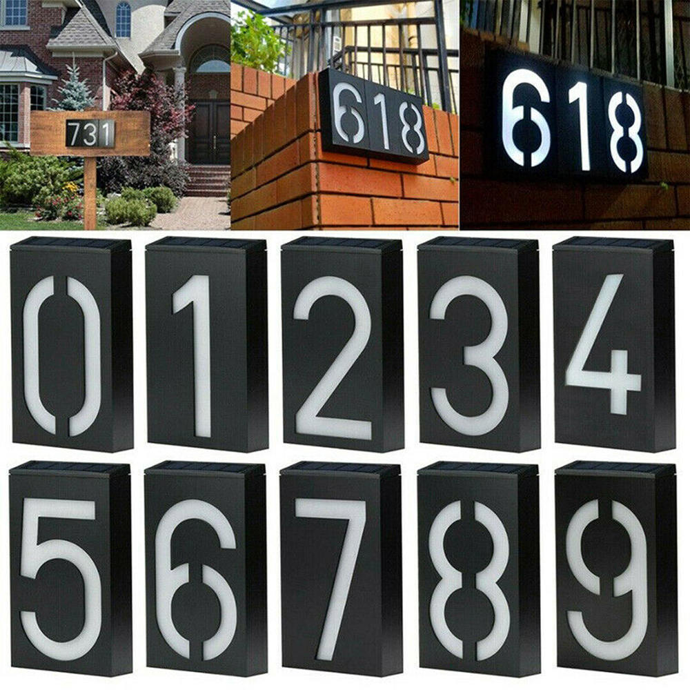 Solar Powered Light Sign House Door Address Plaque Number Digits Plate Wall Lamp