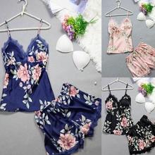 Fashion Flower Sexy Satin Sleepwear For Women With Chest Pad Women