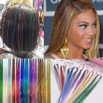 Korean Synthetic Bling Hair Glitter Rainbow For Girls Fashion 100cm Sequin Hair Tinsel Hair Accessories Women Party Hair Clip