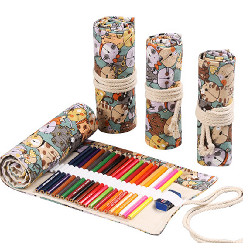 12/24/36/48/72 Holes Roll Colored Pencil Case Canvas Pen Bag Cute Pencilcase Box Art Pen Bag Pouch Stationery Student