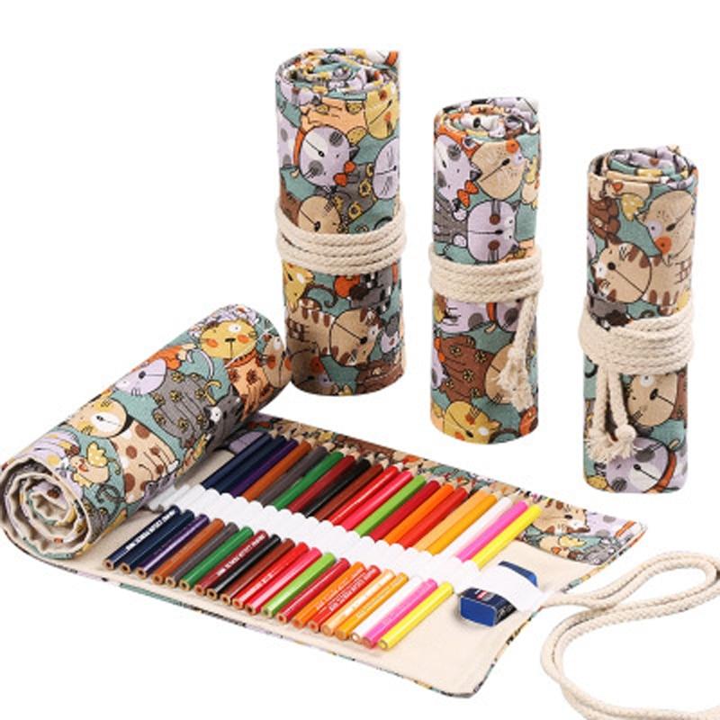 12/24/36/48/72 Holes Roll Colored Pencil Case Canvas Pen Bag Cute Pencilcase Box Art Pen Bag Pouch Stationery Student