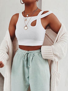 Waatfaak Cropped Tops Tank-Top Club Knit Cut-Out Fitness Basic White Sexy Summer Women
