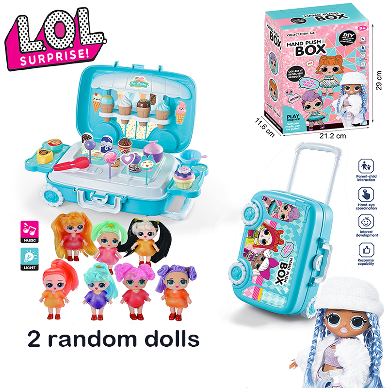 Original Lol Surprise Dolls Toy Suitcase With 2 Random Doll Children Girls Lol Dolls DIY Play House Toys For Girls Birthday Gift