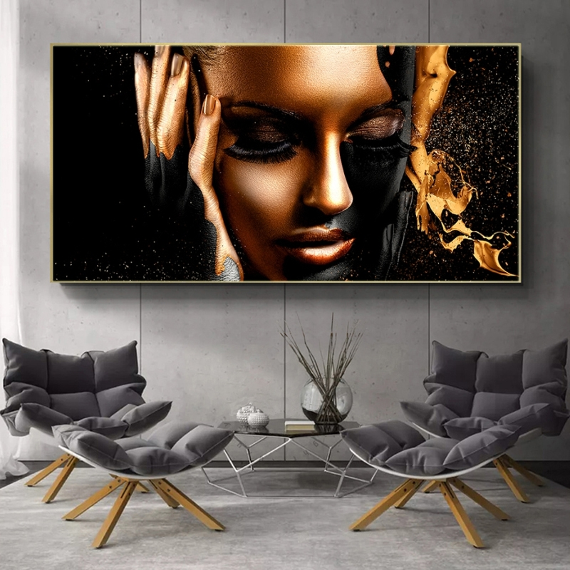 Black Gold Nude African Woman Oil Painting on Canvas Posters and Prints Scandinavian Wall Pictures for Living Room No Frame(China)