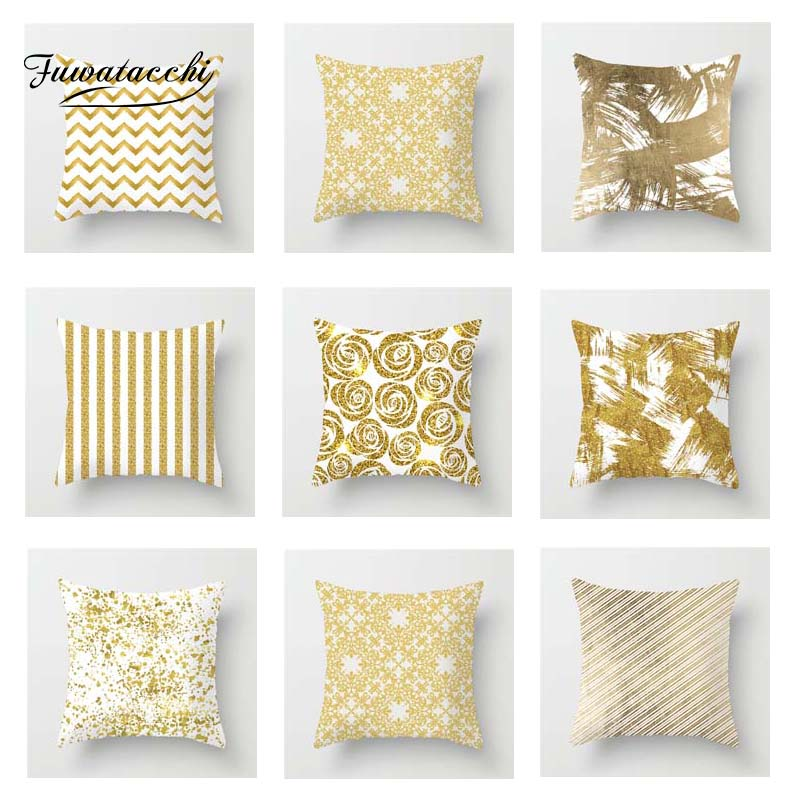 Fuwatacchi Gold Style Cushion Cover Geometric Leaves Wave Diamond Printed Pillow Cover Decorative Pillows for Sofa Car 2019