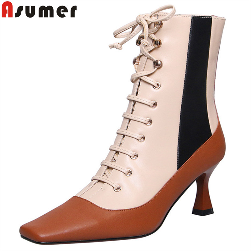 ASUMER Winter Boots Cross-Tied Square-Toe Autumn Big-Size Genuine-Leather Fashion Mixed-Colors