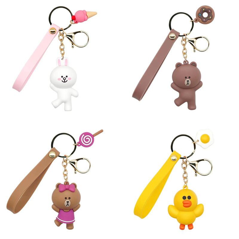 2019 Cartoon Brown Bear Keychain Lovely Rabbit And Duck Doll Key Chain Kids Toy Key Chain Women  For Car Pendant KeyRing