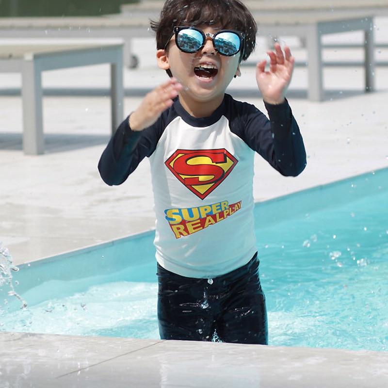 Sports BOY'S Swimsuit Split Type Two Piece Set Hot Selling CHILDREN'S Swimwear Sun-resistant Quick-Dry AussieBum Superman Boy
