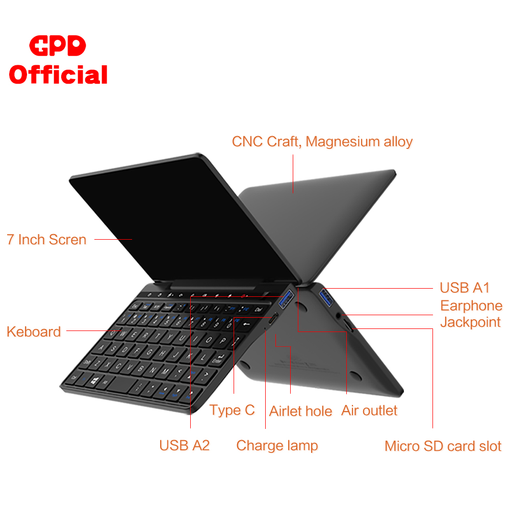 Image 4 - GPD Pocket 2 Pocket2 8GB 256GB 7 Inch Touch Screen Mini PC Pocket Laptop Notebook CPU Intel Celeron 3965Y Windows 10 System-in Laptops from Computer & Office