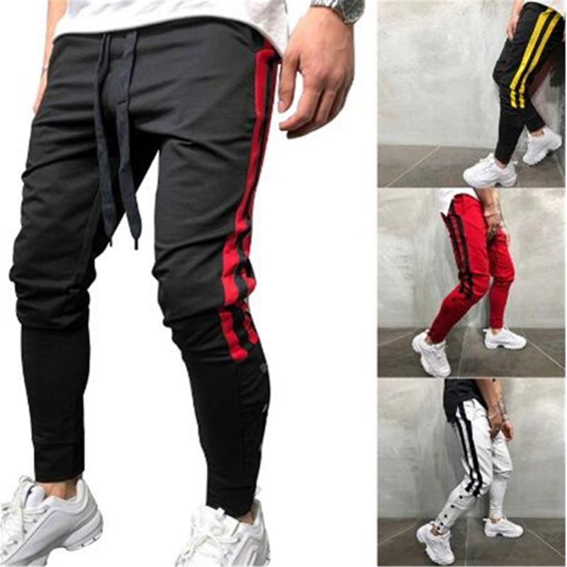 Men Track Pants 2019 NEW Fashion Hip Hop Fitness Streetwear Trousers Striped Drawstring Joggers Sweatpants Pantalon Homme