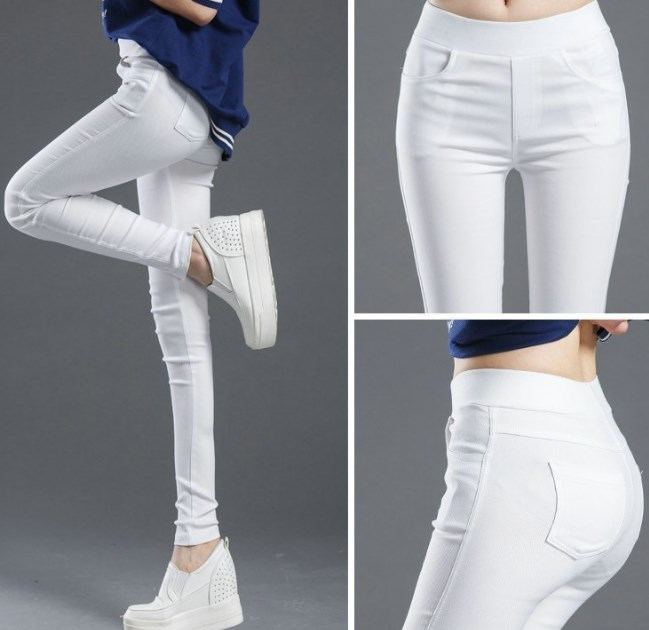 2020 Womens High Waist Pockets Legging For Women Skinny Leggins Femme Black White Pantalones De Mujer Casual Pants Clothing