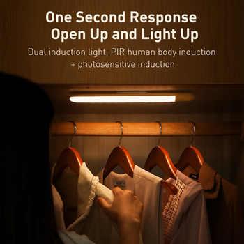Baseus LED Closet Light PIR Motion Sensor Night Lights USB Rechargeable Wardrobe LED Light Bar Wall Kitchen Cabinet Smart Lamp