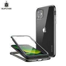 Supcase para iphone 11 caso 6.1 (2019) ub electro metálico galvanizado + tpu caso híbrido de corpo inteiro com protetor de tela embutido
